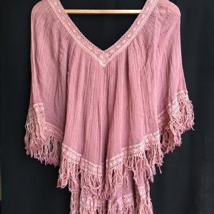 Fringed Mexican Cotton Gauze Poncho